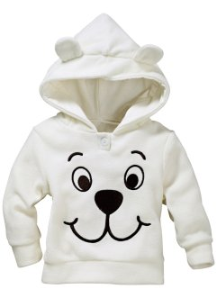 Baby Fleecepullover, bpc bonprix collection, cremeweiss