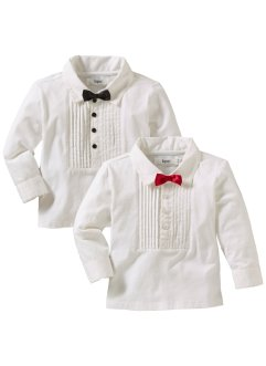Baby Langarmshirt (2er-Pack), bpc bonprix collection, weiss/rot/schwarz