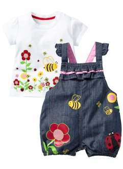 Baby-T-Shirt + Jeans Latzhose (2-tlg. Set), bpc bonprix collection, blue stone/weiss