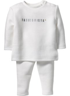 Baby Sweatshirt + Sweathose mit Struktur (2-tlg. Set), bpc bonprix collection, wollweiss