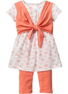 Kleid+ 3/4 Leggings (2-tlg.), bpc bonprix collection, apricot+wollweiss bedruckt