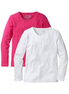 Langarmshirt (2er-Pack), bpc bonprix collection, dunkelpink/weiss