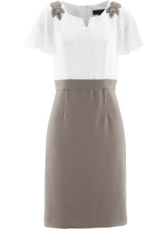 Kleid mit Applikation, bpc selection premium, taupe/wollweiss