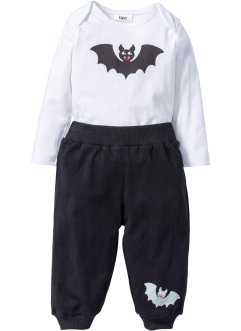 Baby Halloween Body + Shirthose (2-tlg. Set) Bio-Baumwolle, bpc bonprix collection, weiss/schwarz