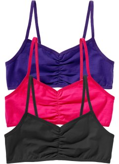 Bustier (3er-Pack), bpc bonprix collection, dunkelpink/lila/schwarz