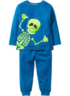 Schlafanzug mit Halloween-Motiv, bpc bonprix collection, blau / Skelett