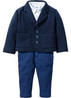 Baby Sakko + Hemd + Hose (3-tlg. Set), bpc bonprix collection, dunkelblau/weiss