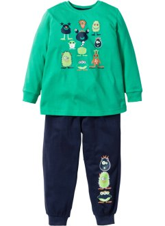 Pyjama (2-tlg. Set), bpc bonprix collection, grün/dunkelblau