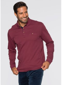 Langarmpoloshirt Regular Fit, bpc selection, bordeaux