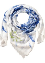 "Dreieckstuch ""Aquarell-Blume"", bpc bonprix collection, weiss/blau"