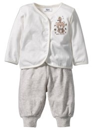Baby Shirtjacke + Shirthose (2-tlg. Set) Bio-Baumwolle, bpc bonprix collection, wollweiss/naturmeliert