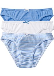 Slip (3er-Pack), bpc bonprix collection, mittelblau/weiss
