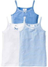 Top (3er-Pack), bpc bonprix collection, mittelblau/weiss