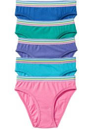 Slip (5er-Pack), bpc bonprix collection, smaragd/pink/blau