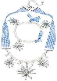 Set Collier & Armband Karo + Perle, bpc bonprix collection, hellblau Blume