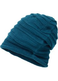 geraffte Beanie uni, bpc bonprix collection, petrol
