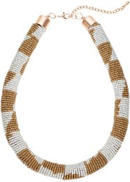 Collier bunte Perlen, bpc bonprix collection, hellbraun/creme/goldfarben