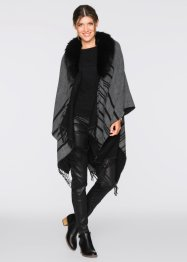 Poncho mit Fellimitat, bpc bonprix collection