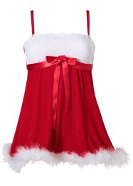 Weihnachts-Babydoll, rot/weiss