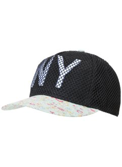 Cap NY/Blumen, bpc bonprix collection, schwarz/multi