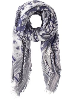 Jacquard-Tuch mit Fransen, bpc bonprix collection, blau/weiss