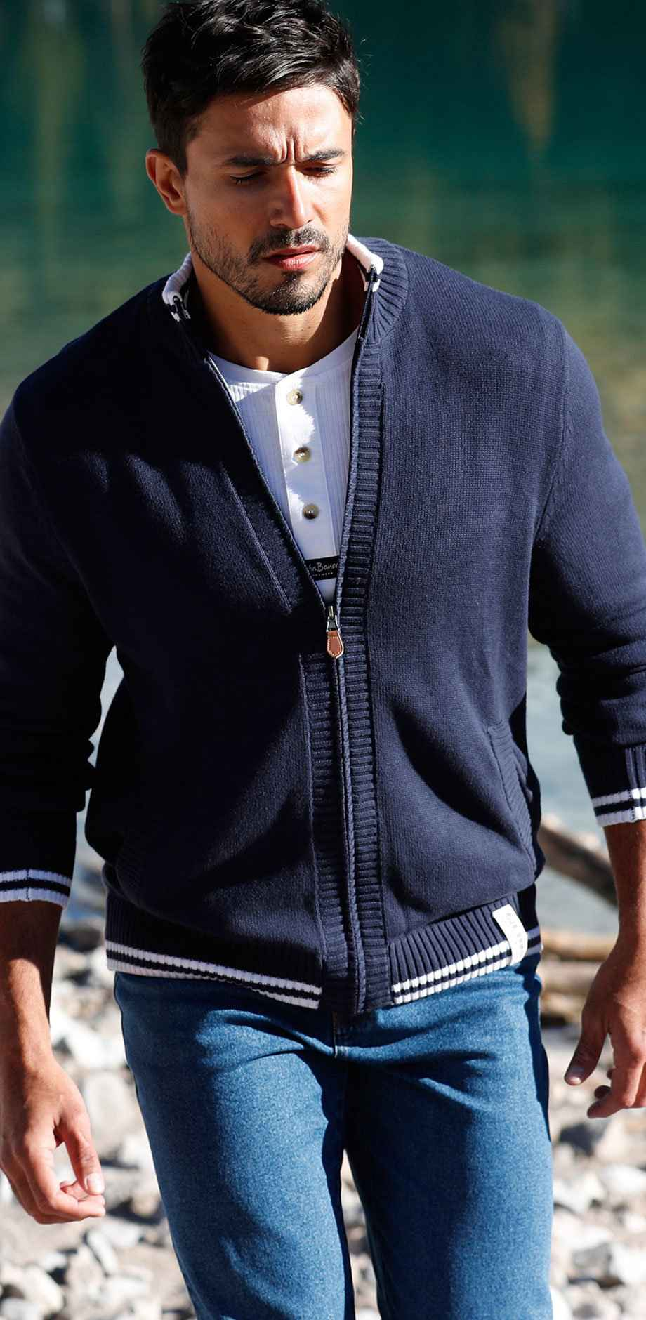 Herren - Strickjacke Regular Fit - dunkelblau