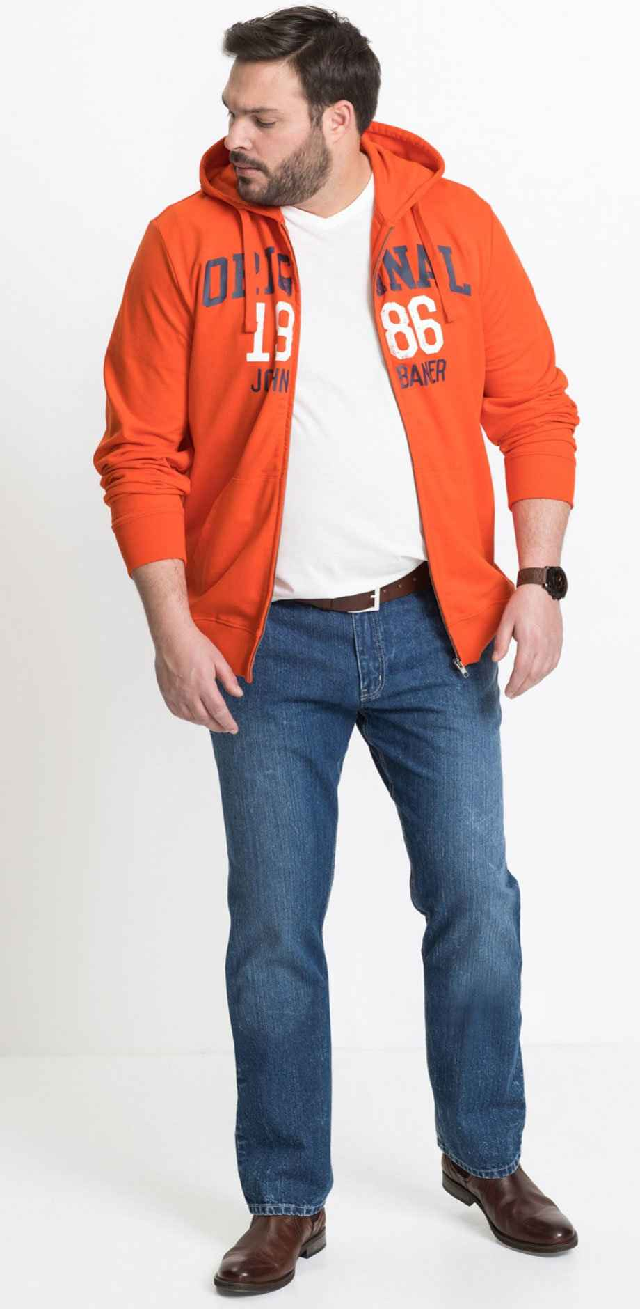Homme - Gilet sweat-shirt Regular Fit - orange