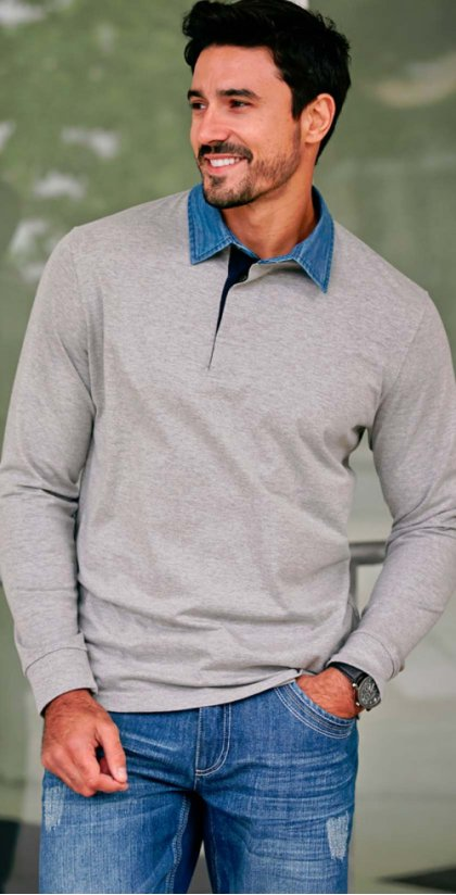 Homme - Polo manches longues Regular Fit - gris clair chiné