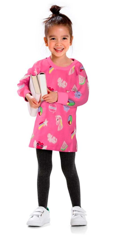 Kinder - Sweatkleid - flamingopink bedruckt