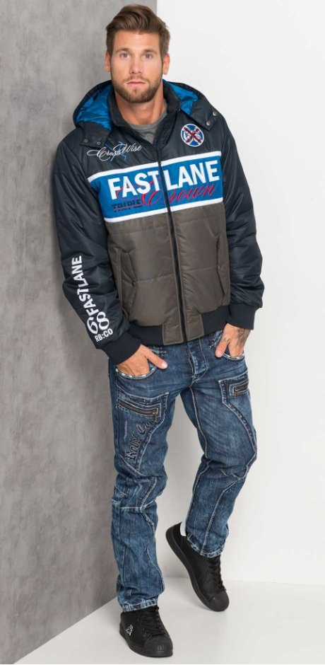 Homme - Blouson Regular Fit - anthracite/bleu azur