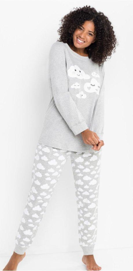 b12152fe0f Damen - Pyjama Bio-Baumwolle - hellgrau meliert bedruckt