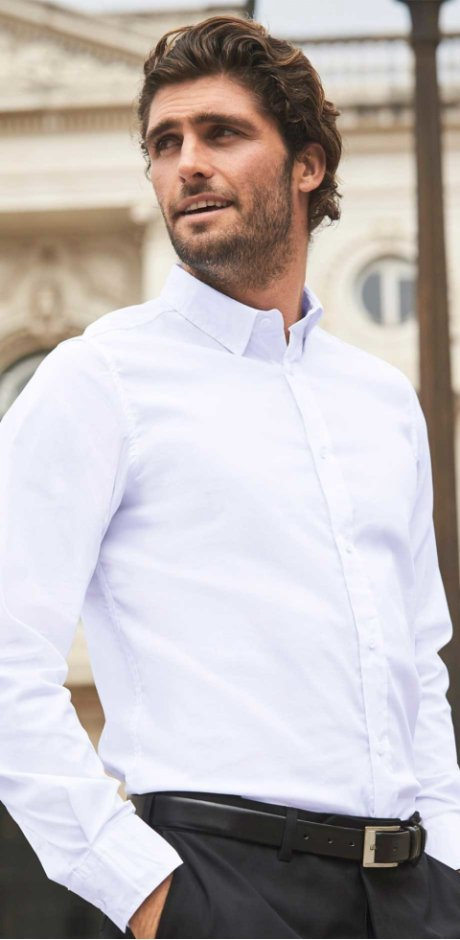Homme - Chemise extensible slim fit - blanc