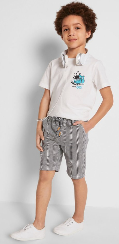 Kinder - Chino-Shorts - blau/weiss gestreift