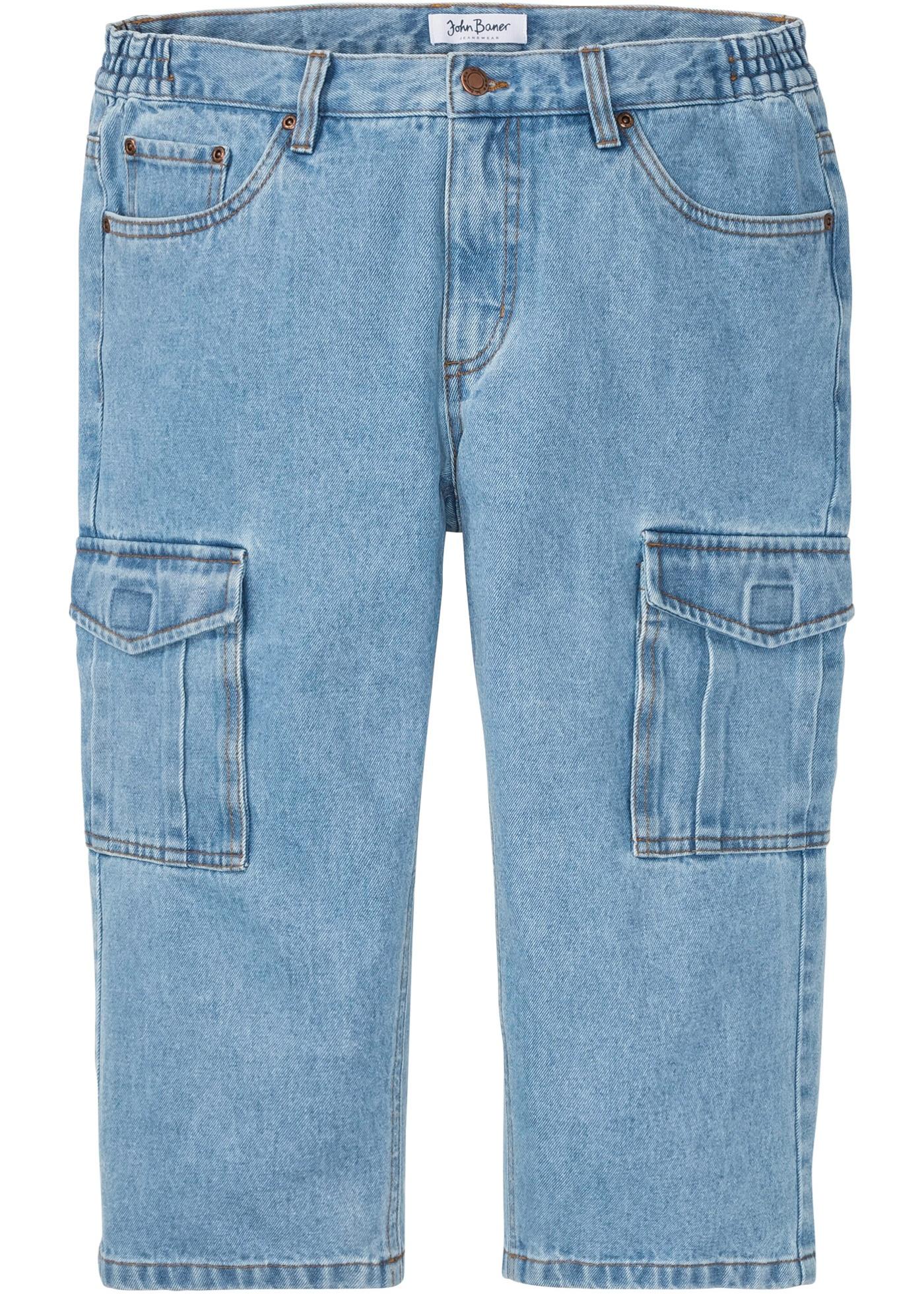 Image of 3/4 Regular Fit Cargo-Jeans m. seitlichem Dehnbund, Straight