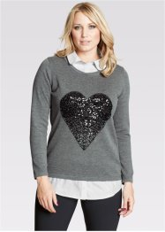 Pullover in Doppeloptik, bpc bonprix collection, grau meliert