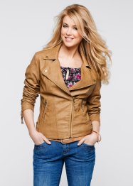 Lederimitatjacke, bpc bonprix collection, cognac