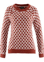 Pull, bpc bonprix collection, rouge brique/blanc cassé
