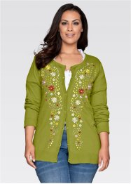 Trachten-Strickjacke mit Stickerei und langem Arm, bpc bonprix collection, moos