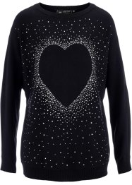 Pull long à strass appliqués, bpc selection, noir