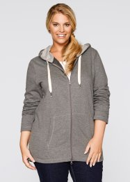 Long-Sweatjacke, bpc bonprix collection, grau meliert