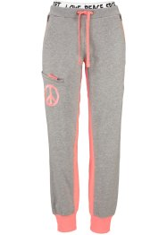 Pantalon matière sweat, bpc bonprix collection, gris clair chiné/saumon fluo