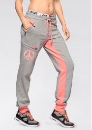 Jogginghose, bpc bonprix collection, hellgrau meliert/neonlachs