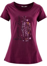Kurzarmshirt, bpc bonprix collection, beere bedruckt