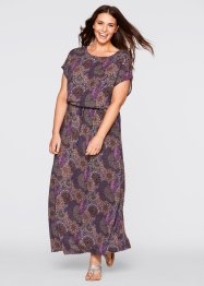 Maxi-Kleid, bpc bonprix collection, dunkellila gemustert