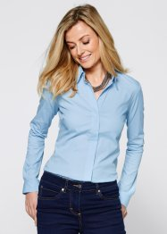 Long-Stretchbluse, bpc selection, eisblau