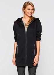 Gilet sweat long, bpc bonprix collection, noir