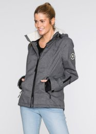 Funktions-Outdoorjacke mit Teddyfleece, bpc bonprix collection, mitternachtsblau meliert