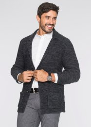 Strickblazer Regular Fit, bpc bonprix collection, dunkelgrau meliert
