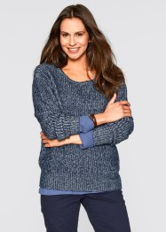 Zweifarbiger Pullover, bpc bonprix collection, dunkelblau/wollweiss