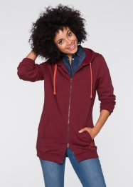 Gilet sweat long, John Baner JEANSWEAR, bordeaux
